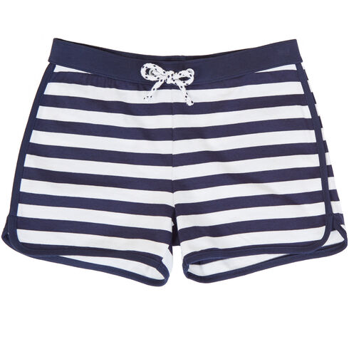 Little Girls' Striped Dolphin Short (2T-7) - Navy
