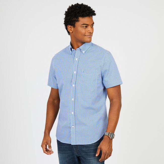 Gingham Classic Fit Short Sleeve Shirt,Deep Sea,large