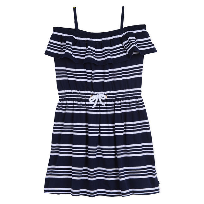 Girls' Jersey Blouson Dress in Stripe,Navy,large