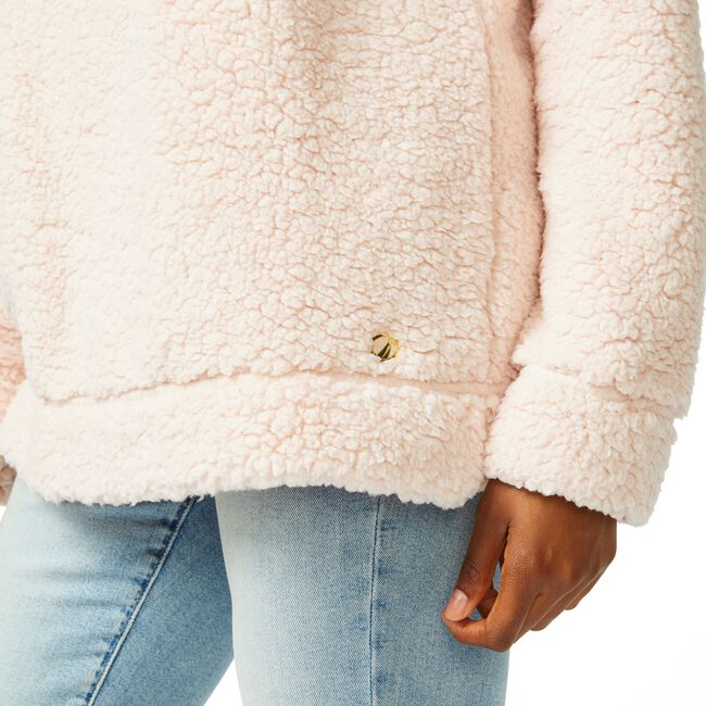 SHERPA MOCK NECK SWEATER,New Pink,large