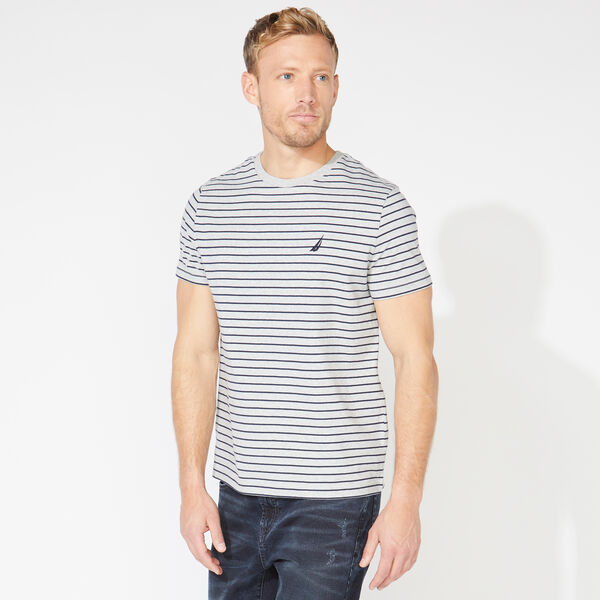 STRIPED COTTON TEE - Grey Heather