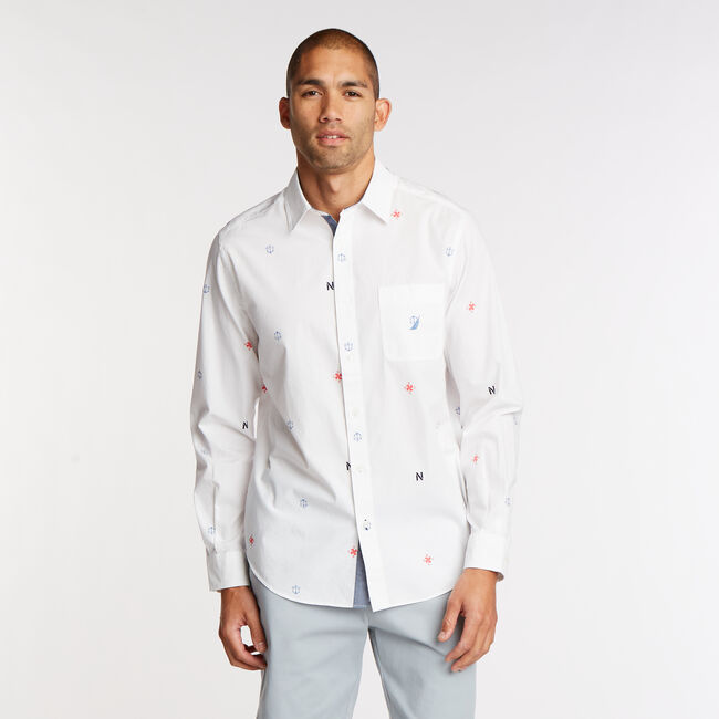 Print Long Sleeve Classic Fit Shirt,Bright White,large