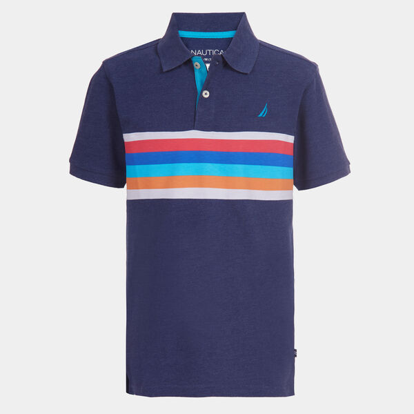 BOYS' CHEST STRIPE POLO (8-20) - J Navy
