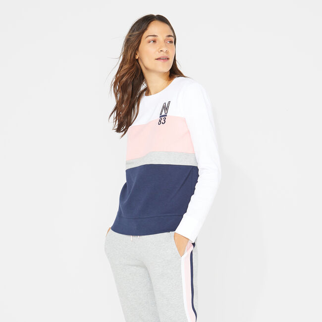 EMBROIDERED COLORBLOCK SWEATSHIRT,Bright White,large