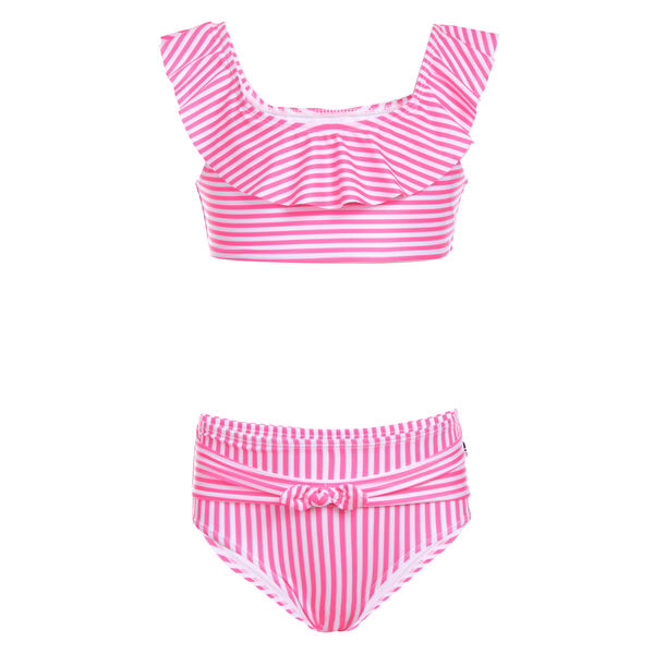 GIRLS' STRIPED RUFFLE-ACCENTED BIKINI SWIMSUIT (8-20) - Lt Pink