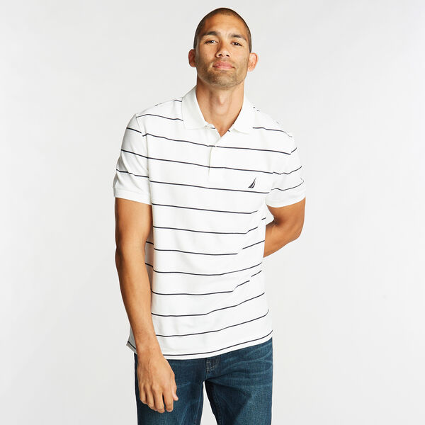 Classic Fit Striped Performance  Polo Shirt - Bright White