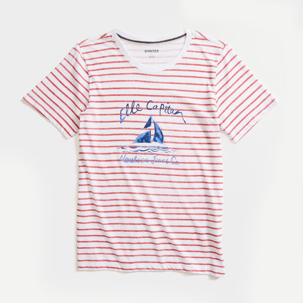 NAUTICA JEANS CO. STRIPE GRAPHIC T-SHIRT - Bright White