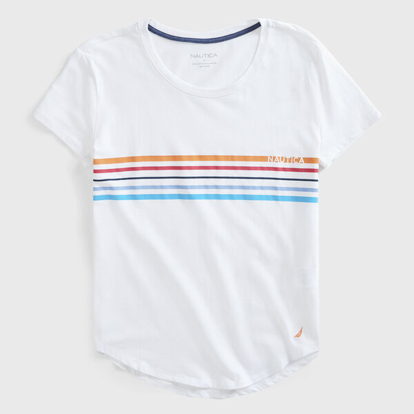 STRIPE LOGO  T-SHIRT - Bright White