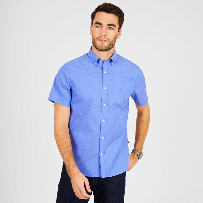 Short Sleeve Classic Fit Wrinkle-Resistant Shirt,Rolling River Wash,large