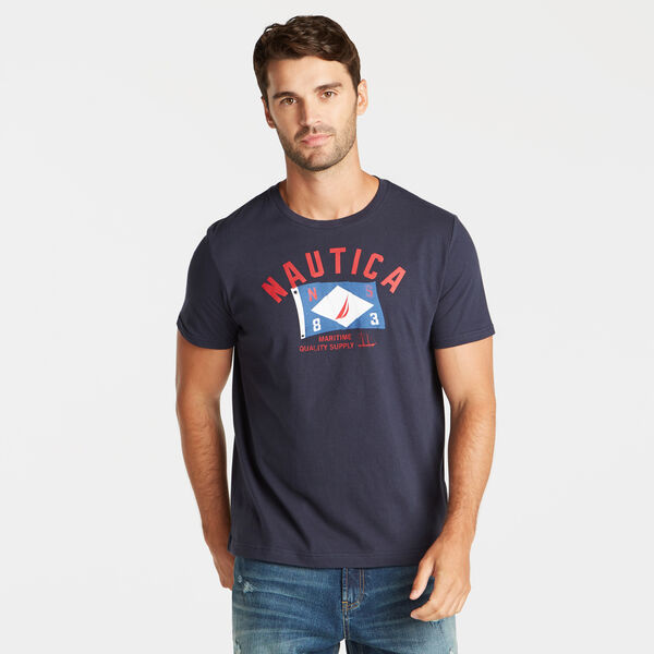 MARITIME QUALITY SUPPLY FLAG GRAPHIC TEE - Pure Dark Pacific Wash