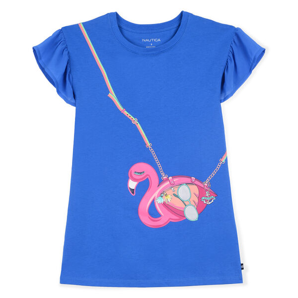 Little Girls' Jersey Shift Dress in Flamingo Purse Graphic (4-7) (00880680593142 Sale Girls' 2T-7 Dresses & Skirts) photo