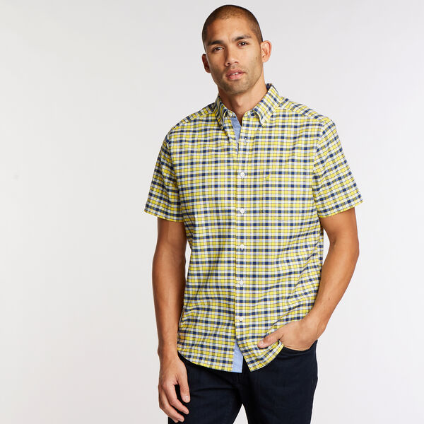 Short Sleeve Classic Fit Oxford Shirt in Plaid - Marigold
