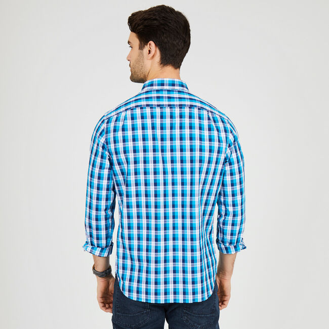 Long Sleeve Plaid Classic Fit Button Down,Bright Blue Jig,large
