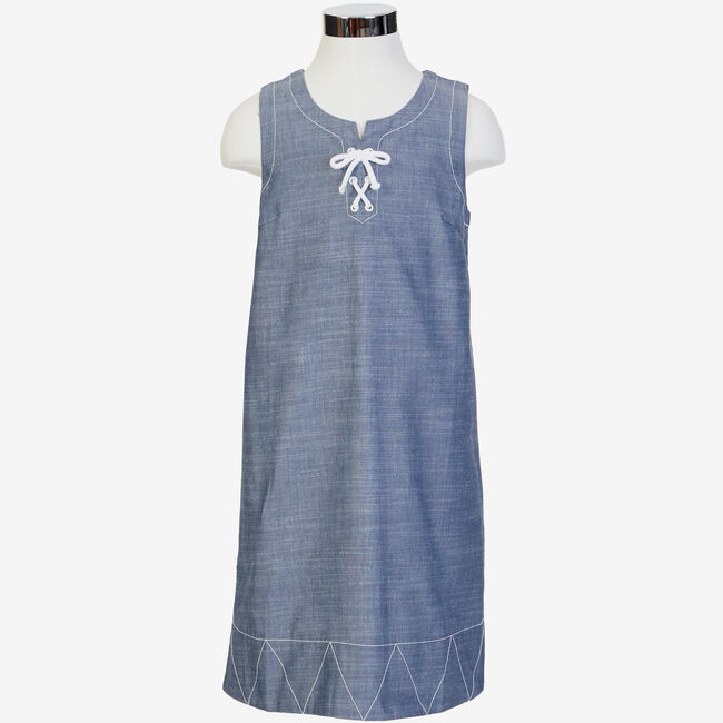 Little Girls' Chambray Shift Dress (2T-7),Windsurf Blue,large
