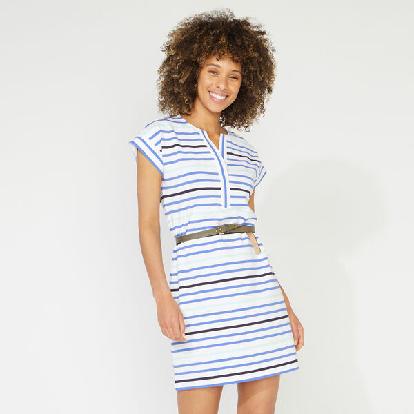 STRIPED SPLIT NECK DRESS - Bright White