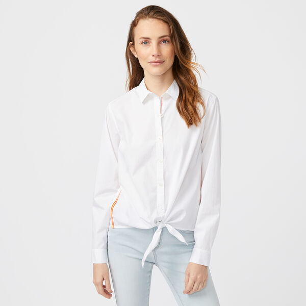 SIDE STRIPE TIE-FRONT POPLIN SHIRT - Bright White