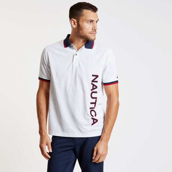 Sail Flag Classic Fit Tech Short Sleeve Polo - Bright White