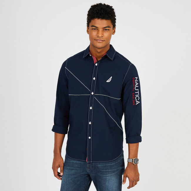 Mainsail Solid Chambray Button Down,Navy,large