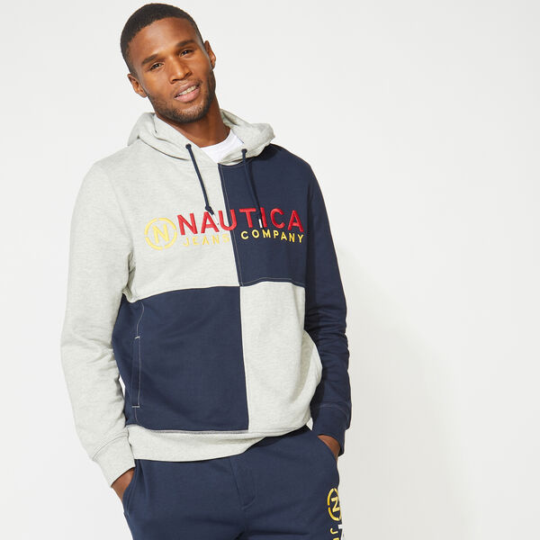 NAUTICA JEANS CO. COLORBLOCK LOGO HOODIE - Grey Heather