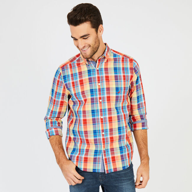 Classic Fit Bold Madras Plaid Button Down,Seaside Red,large
