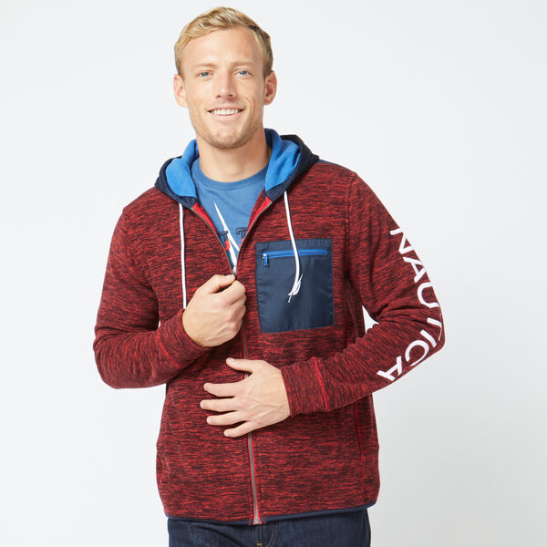 MIXED MEDIA FULL-ZIP HOODIE - Nautica Red