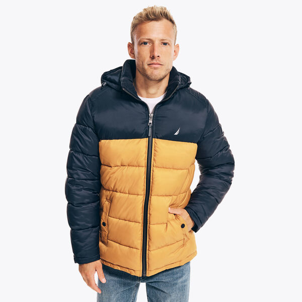 COLORBLOCK QUILTED JACKET - Old Gold