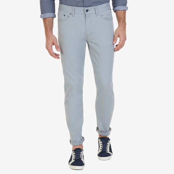 Straight Leg 5-Pocket Stretch Twill Pants - Bay Grey