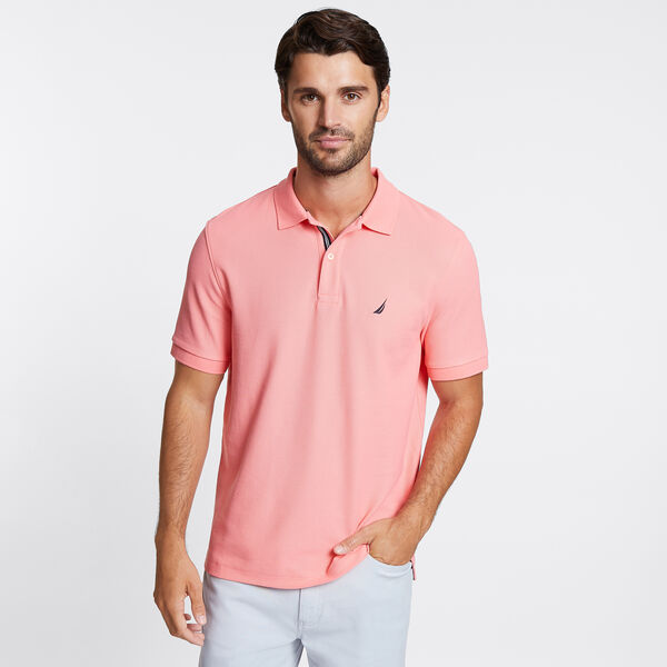 Classic Fit Solid Mesh Polo Shirt - Flame Red