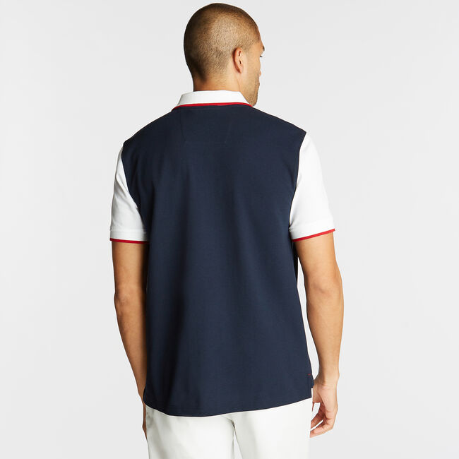 CLASSIC FIT CONTRAST COLLAR POLO,Navy,large