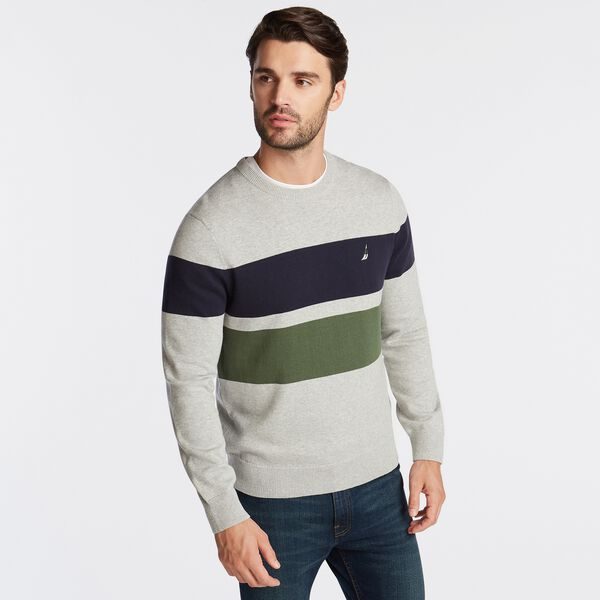 BLOCK STRIPE CREWNECK SWEATER - Grey Heather