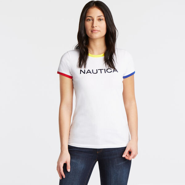 CLASSIC FIT JERSEY T-SHIRT IN CONTRAST TRIM - Bright White