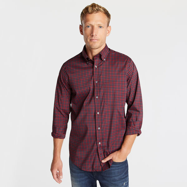 Classic Fit Non-Iron Performance Twill Shirt in Red Plaid - Sailor Red