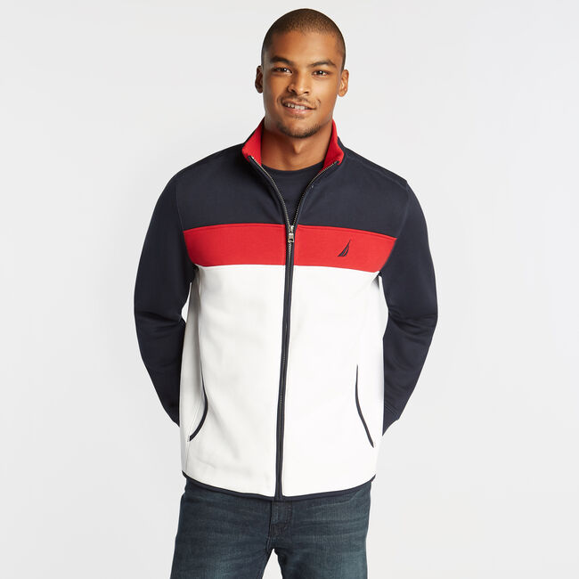 PIECED COLORBLOCK FULL ZIP KNIT JACKET,Bright White,large