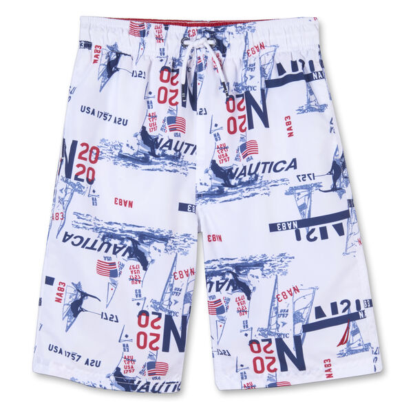 BOYS' SAYLOR NAUTICAL PRINTED SWIM TRUNKS (8-20) - Antique White Wash