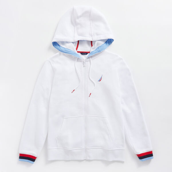 RAINBOW LOGO FULL ZIP HOODIE - Bright White