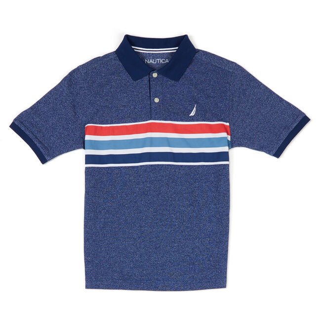 Boys' Brighton Marled Pique Polo (8-20),Bait Cast Blue,large