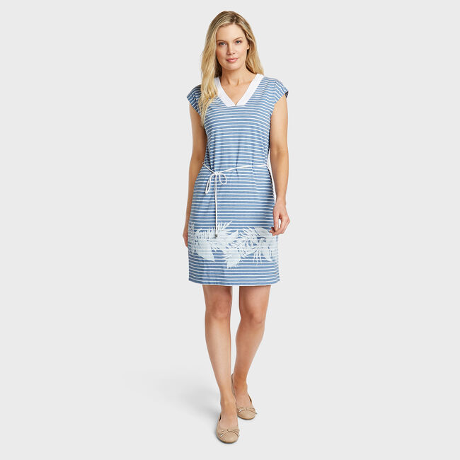 Jersey Blouson Dress in Stripe & Floral Border Print,Aquadream,large