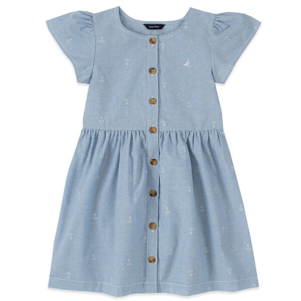 LITTLE GIRLS' ANCHOR PRINT CHAMBRAY DRESS (4-7) - Nite Sea Heather