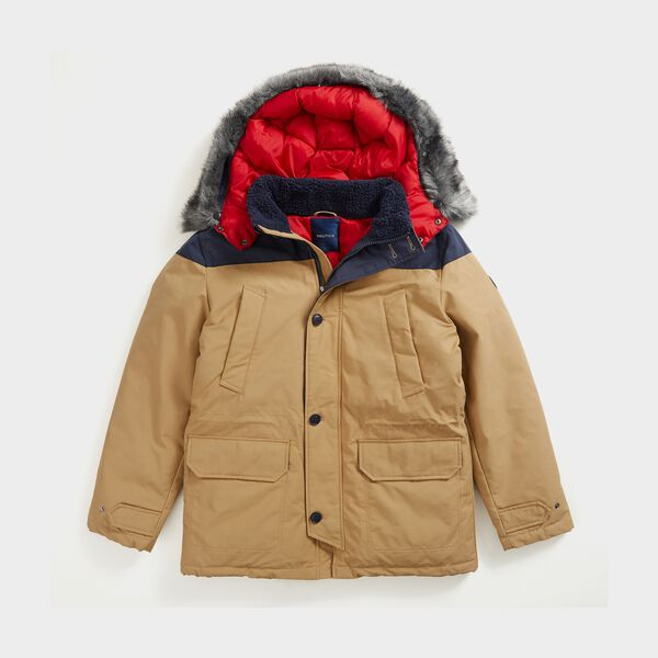 SUSTAINABLY CRAFTED TEMPASPHERE  COLOBLOCK PARKA - Dark Brown