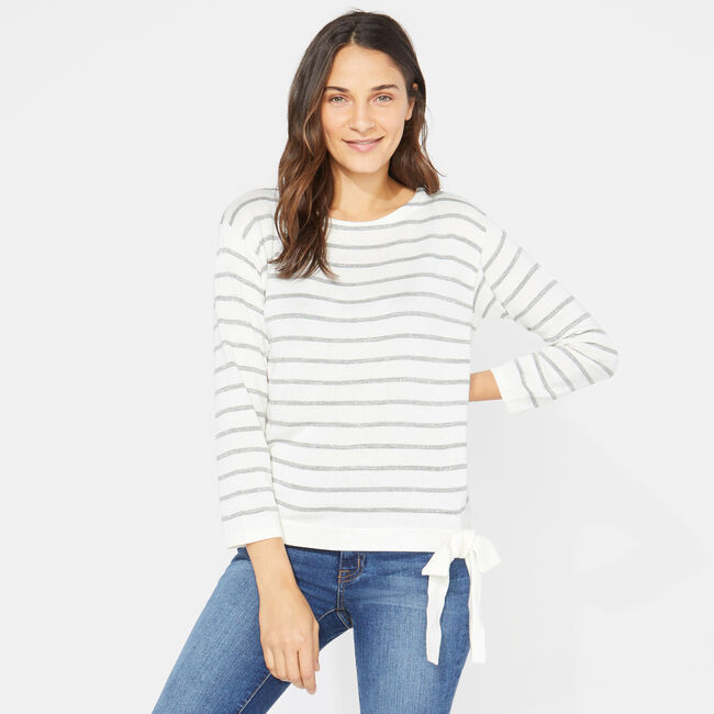 LUREX-STRIPED TIE-FRONT SWEATER,Marshmallow,large