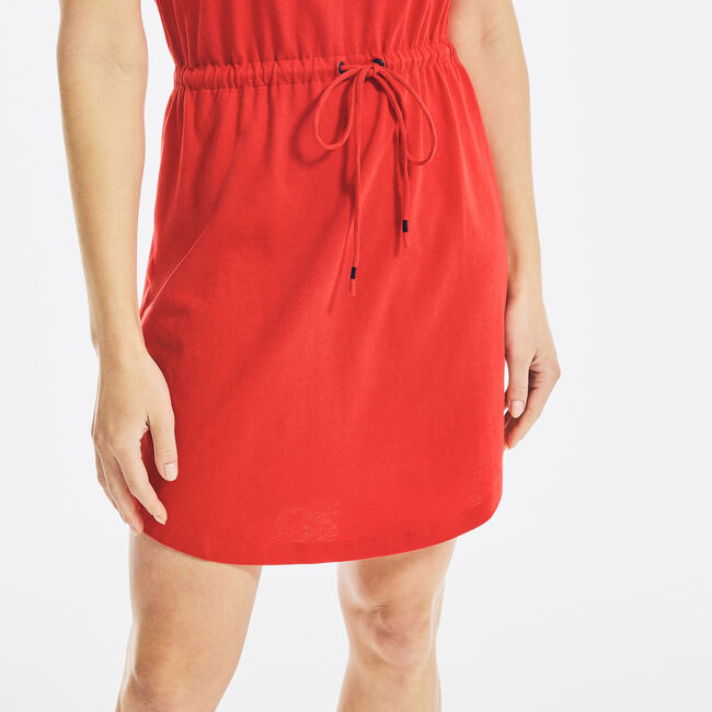 SUSTAINABLY CRAFTED SPLIT-NECK DRESS,Tomales Red,large