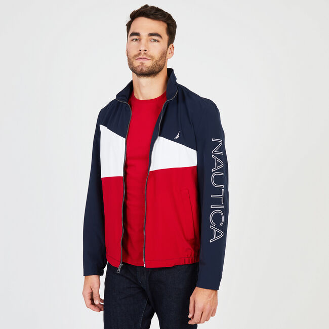 Water Resistant Colorblock Logo Jacket,Navy,large