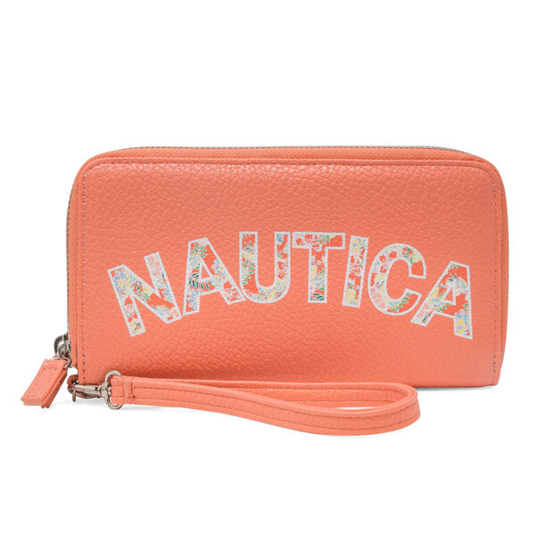 Heritage Logo Double Zip-Around Wristlet - Island Peach