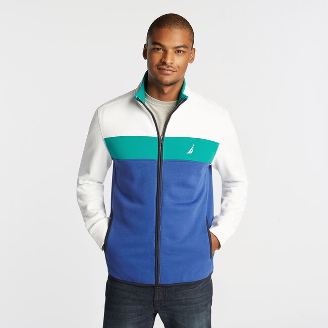 PIECED COLORBLOCK FULL ZIP KNIT JACKET,Windsurf Blue,large