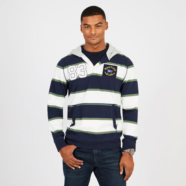 Rugby Stripe Pullover Hoodie - Marshmallow