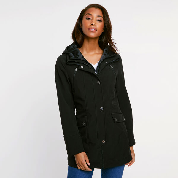 Softshell Jacket with Quilted Underlay - True Black