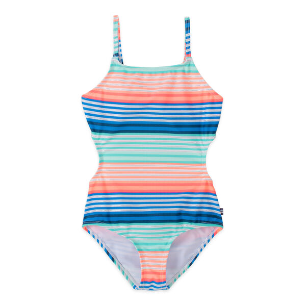 GIRLS' STRIPED TIE BACK ONE PIECE SWIM (8-20) - Neon Orange