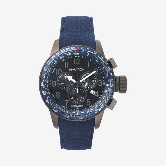 Galley Chronograph Watch with 2 Interchangeable Straps,Ice Blue,large