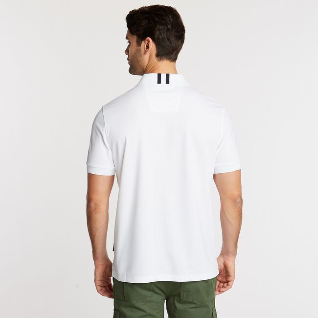 Classic Fit Solid Navtech Polo,Bright White,large