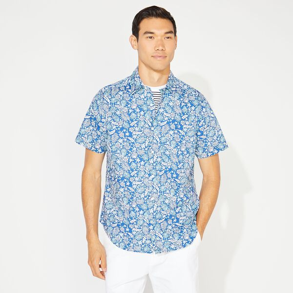 CLASSIC FIT TROPICAL FLORAL PRINT SHIRT - Clear Sky Blue